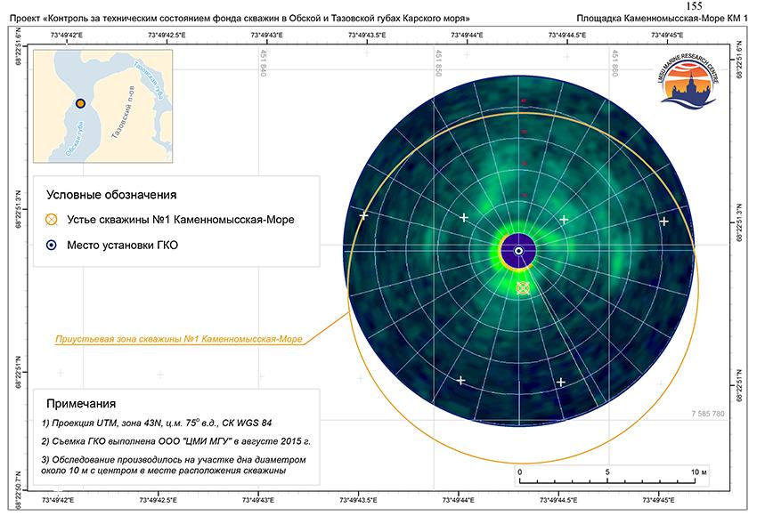 Пример обследования устья скважины по данным ГБО